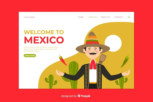 Welcome to mexico landing page Free Vector