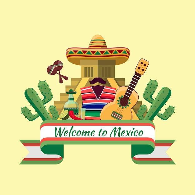 Benvenuti in messico. cibo messicano, peperoncino di cactus. Vettore gratuito