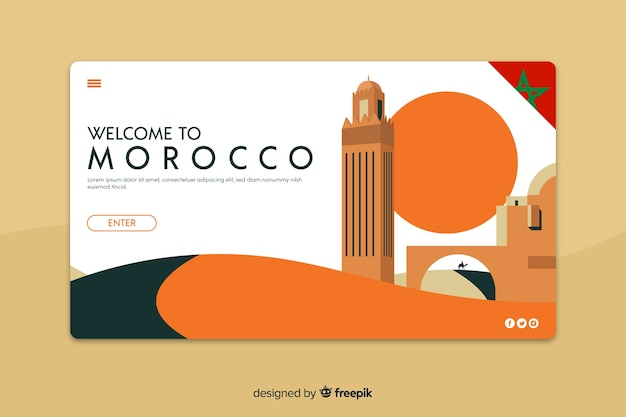 Welcome to morocco landing page template Free Vector