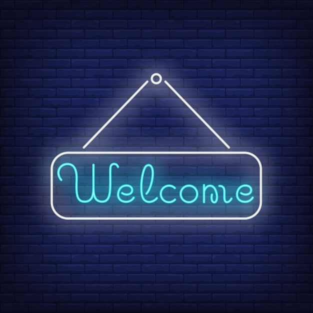 Welcome neon lettering on tablet. invitation. Free Vector