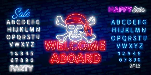 Welcome neon sign, design template, modern trend design, night neon signboard, night bright advertising, light banner, light art. Premium Vector