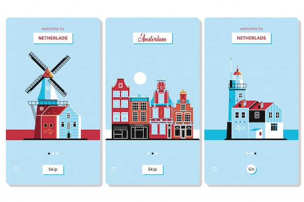 Welcome to netherlands greeting souvenir cards Premium Vector