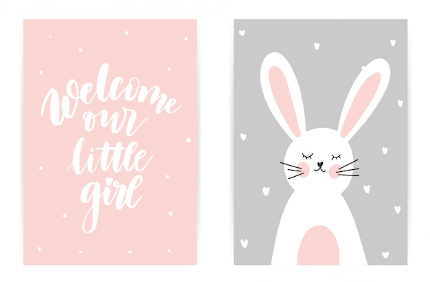 Welcome our little girl. pink gray bunny Premium Vector