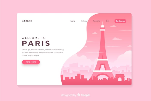 Welcome to paris landing page Free Vector