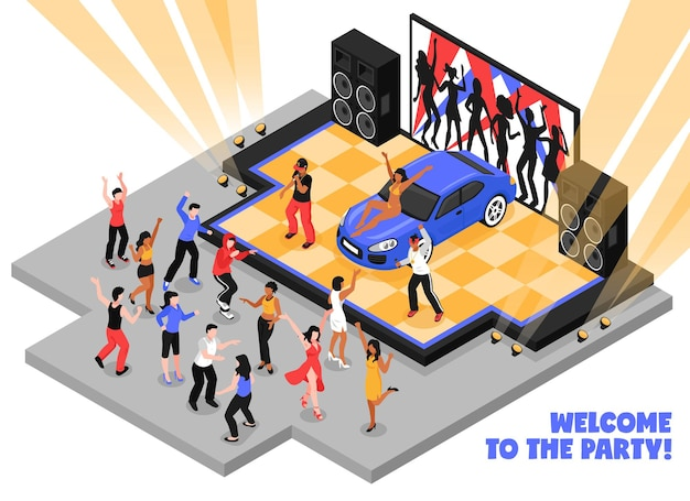 Welcome to the party isometric  with rappers performing rap music on stage and dancing teens Free Vector