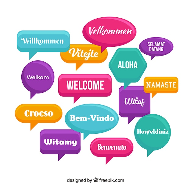 Modello di benvenuto in diverse lingue Vettore gratuito