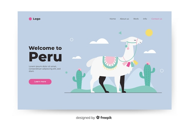 Welcome to peru landing page with illustrations Free Vector