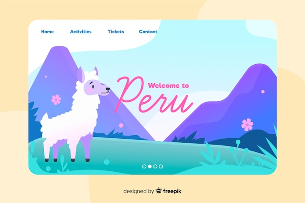 Welcome to peru landing page Free Vector
