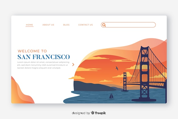 Welcome to san francisco landing page template Free Vector