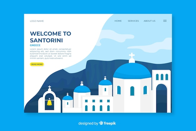 Welcome to santorini landing page Free Vector