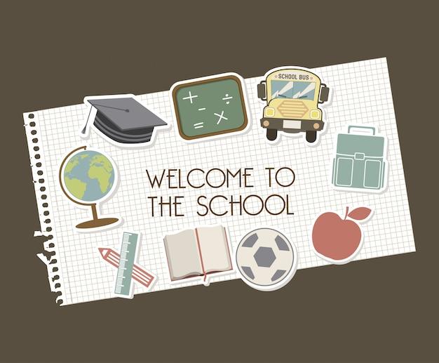 Welcome to school over brown background vector illustration Premium Vector