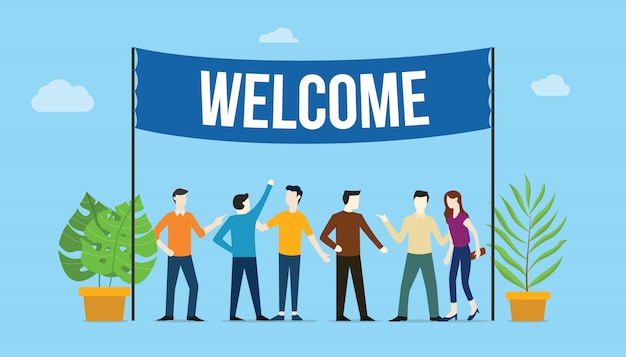 Welcome sign board Premium Vector