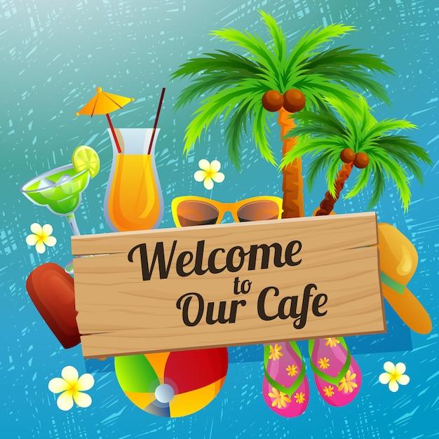 Добро пожаловать знак кафе пляжный отдых Premium векторы