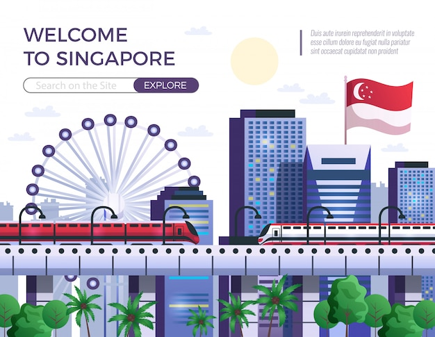 Welcome to singapore  illustration Free Vector