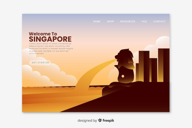 Welcome to singapore landing page Free Vector