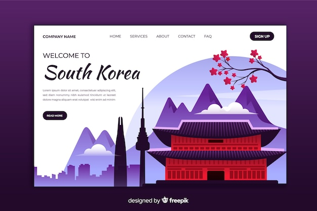 Welcome to south korea landing page Free Vector