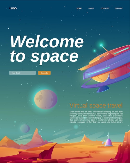 Welcome to space cartoon landing page with ufo spaceship Free Vector