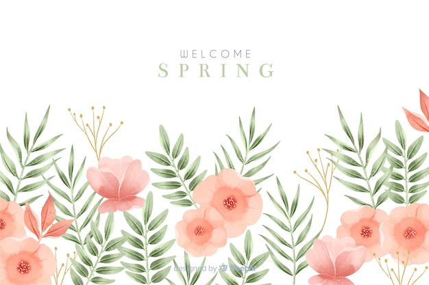 Welcome spring background with flowers Free Vector