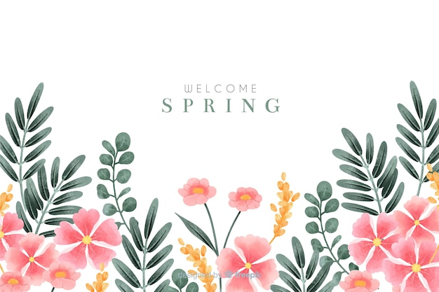 Welcome spring background with watercolor flowers Free Vector