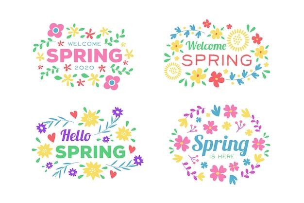 Приветственная весенняя коллекция значков с яркими цветами и листьями Бесплатные векторы
