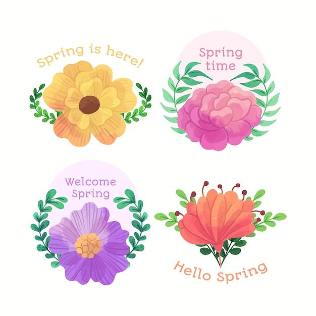 Приветственные весенние значки в акварельном дизайне Бесплатные векторы