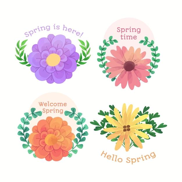 葉の花輪とようこそ春バッジ 無料ベクター