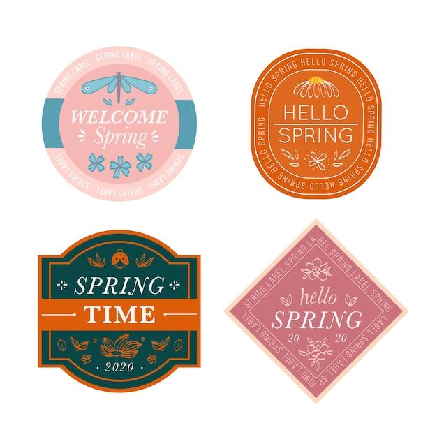 Добро пожаловать весна коллекция ретро этикеток Бесплатные векторы