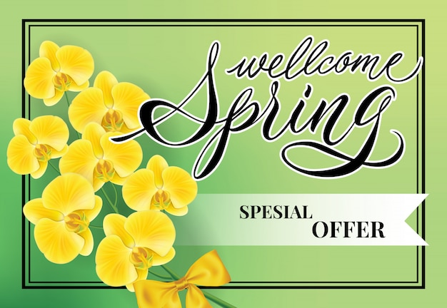 Welcome spring Special offer lettering.\ Creative inscription with flower twig.