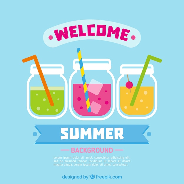 Welcome summer background with drinks Vector | Free Download
