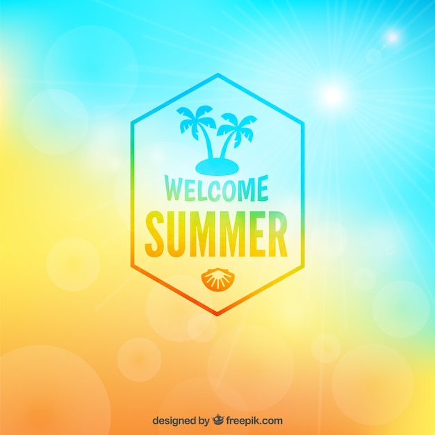 Welcome summer badge on blurry background Free Vector