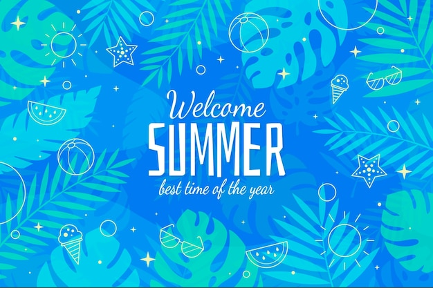 Welcome summer best season flat design background Free Vector