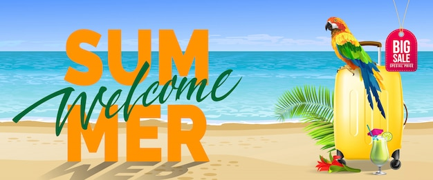 Welcome summer, big sale banner. Cold drink,\ red flower, yellow travel case, parrot, ocean