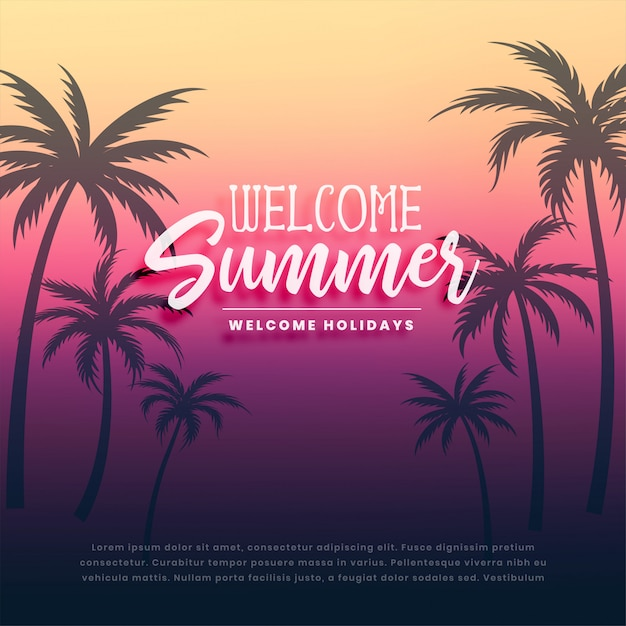 Welcome summer holidays background Free Vector