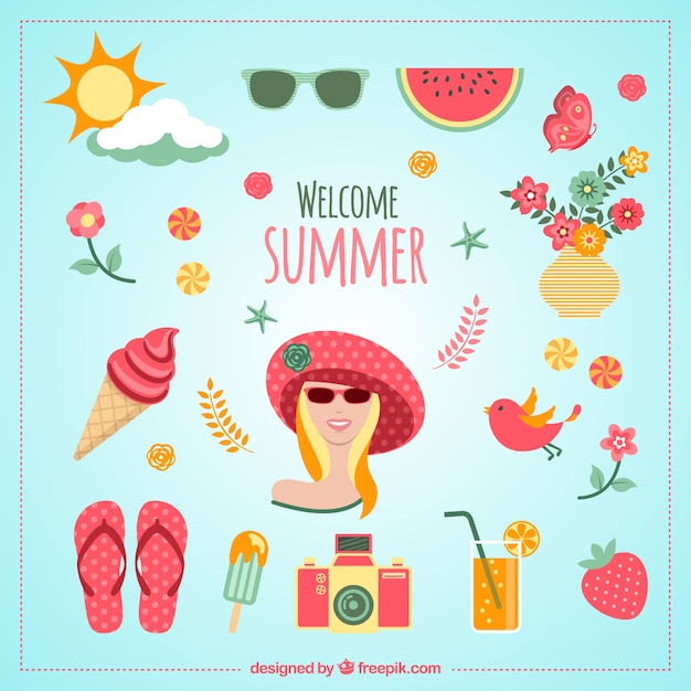 Welcome summer icons Free Vector
