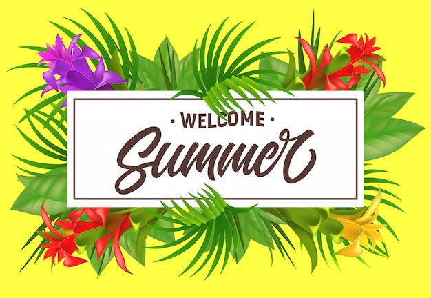 Welcome summer lettering in frame with flowers.\ Summer offer or sale advertising