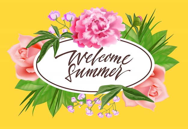 Welcome summer lettering in oval frame with\ flowers. Summer offer or sale advertising