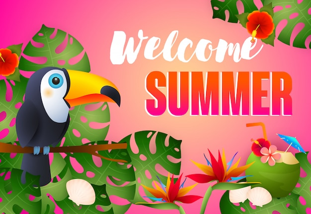 Welcome summer lettering with exotic bird, flowers and cocktail Free Vector