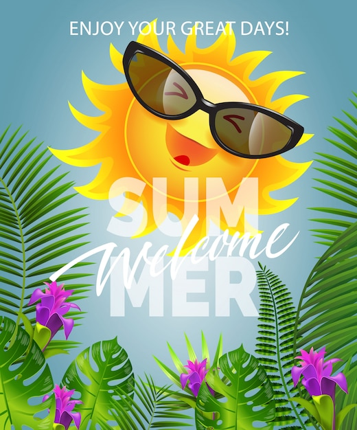 Welcome summer lettering with smiling sun in sunglasses. summer offer Free Vector