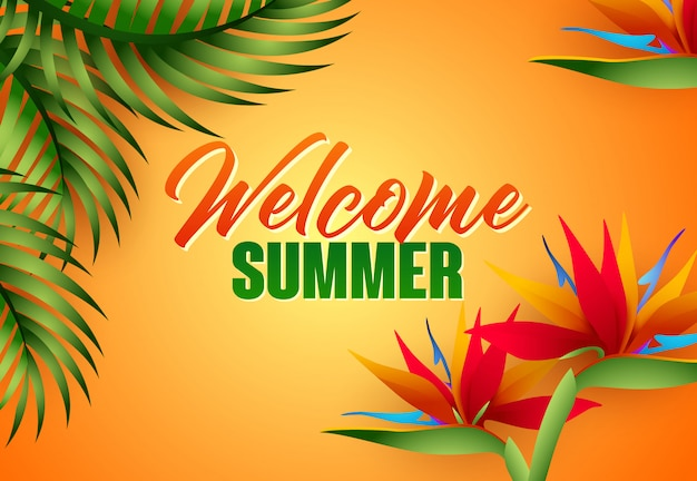 Welcome summer lettering with tropical leaves and flowers Free Vector