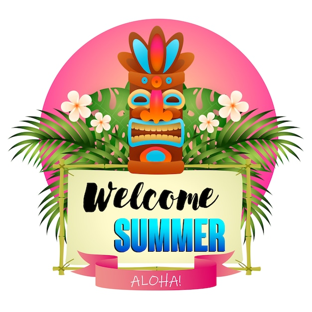 Welcome summer poster. tiki tribal wooden mask Free Vector