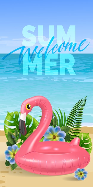 Welcome summer, seasonal banner with palm\ leaves, blue flowers, pink toy flamingo