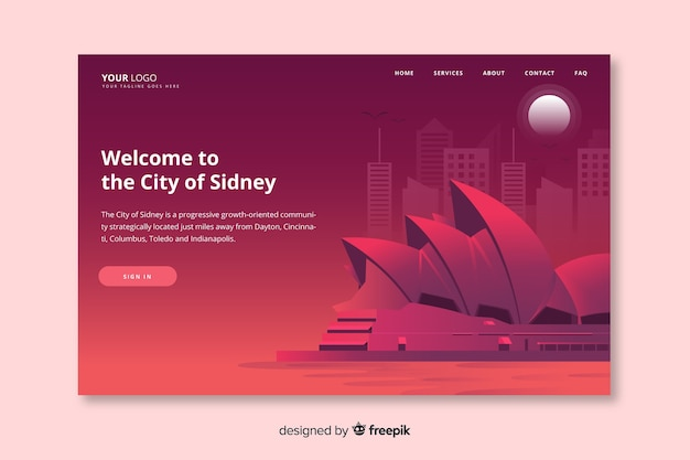 Welcome to sydney landing page template Free Vector
