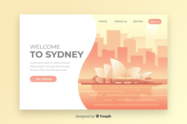 Welcome to sydney landing page Free Vector