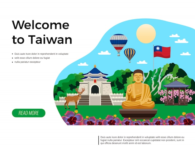 Benvenuto nella landing page di taiwan Vettore gratuito
