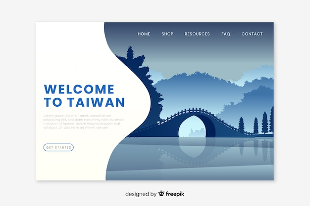 Welcome to taiwan landing page Free Vector