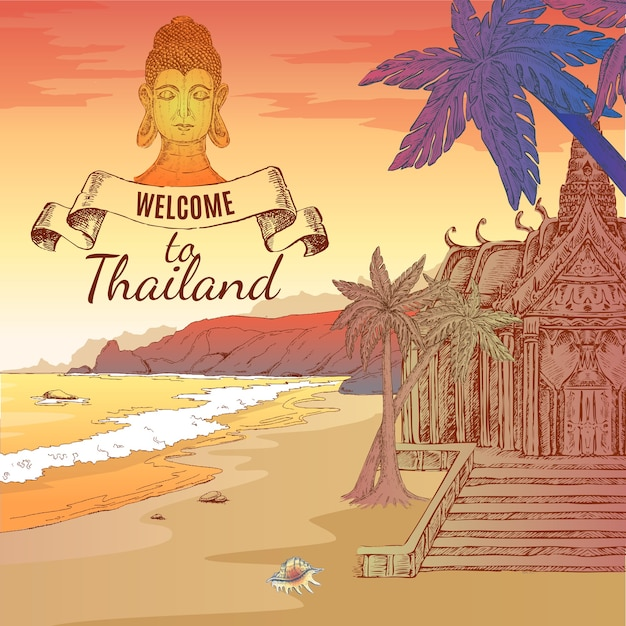 Welcome to thailand illustration Free Vector
