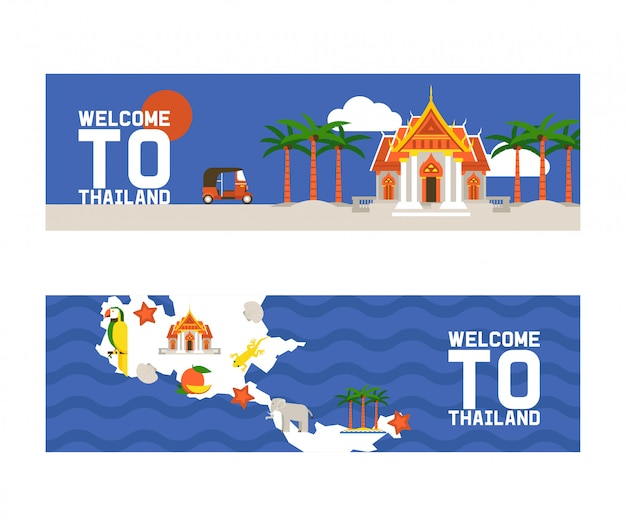 Welcome to thailand set of banners. traditions, culture of country. ancient memorials, buildings, nature and animals such as elephant. transport vehicle tuk tuk Premium Vector