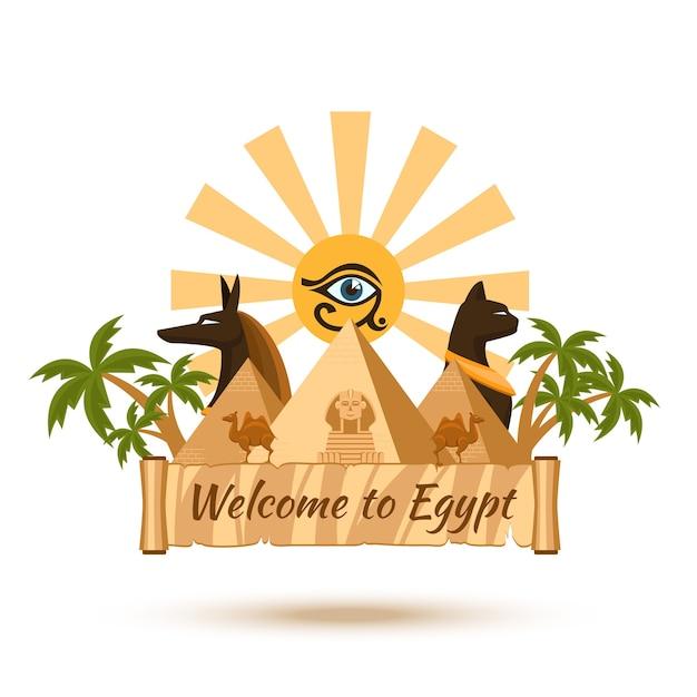 エジプトへようこそ。ピラミッドと太陽、スフィンクスとファラオ 無料ベクター