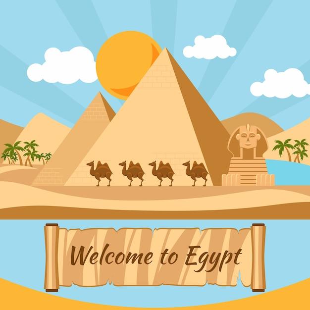 Добро пожаловать в египет, пирамиды и сфинкса. отпуск и памятник, песок и статуя, верблюд и экзотика Бесплатные векторы
