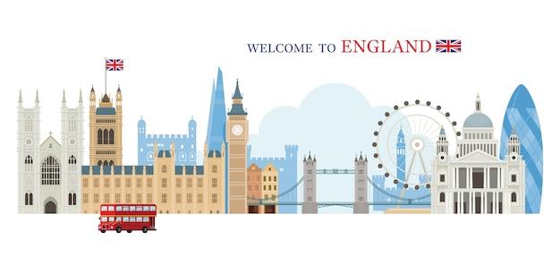 Добро пожаловать в англию, приветствуя концепцию Premium векторы